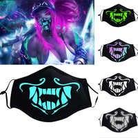 Gioco KDA K/DA Akali Maschera Assassino S8 Blu Verde Viso Maschera Luci notturne costumi Cosplay Prop