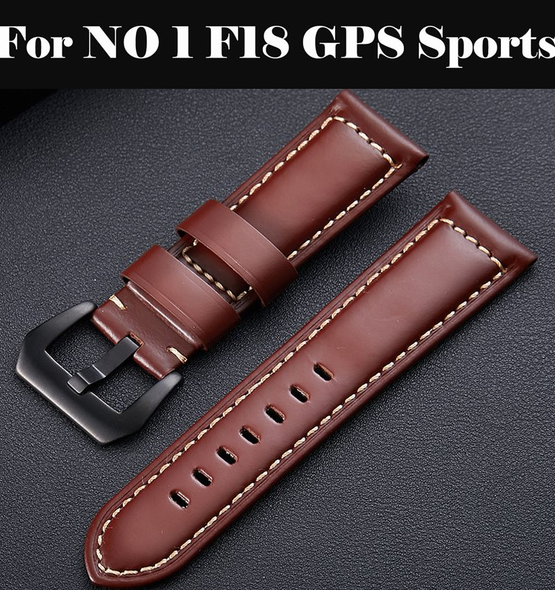 Genuine Leather Watchbands 12-24mm Watch Band Steel Buckle Strap 22mm watch band For NO 1 <font><b>F18</b></font> GPS Sports image