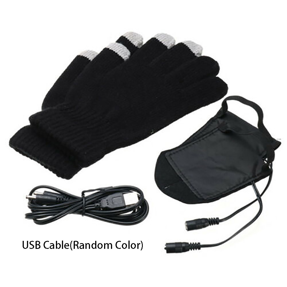Unisex Winter USB Powered Heated Gloves Thermal Outdoor Sports Hunting Cycling Skiing Motorcycle Soft Knitted Mitten Hand Warmer