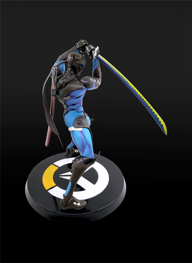 Anime Game Overwatch Genji Changeable Hands Black White Figure Dolls 27cm 5