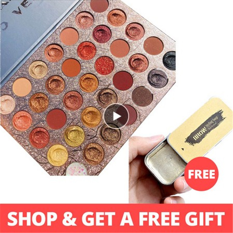 35 Colors Brown Orange Matte Pearlescent Glitter Sequins Eyeshadow Palette Pigment Shadow Makeup Palette Cosmetics Free TSLM2