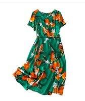 2020 new summer silk satin green mature red pomelo Short Sleeve Silk Dress