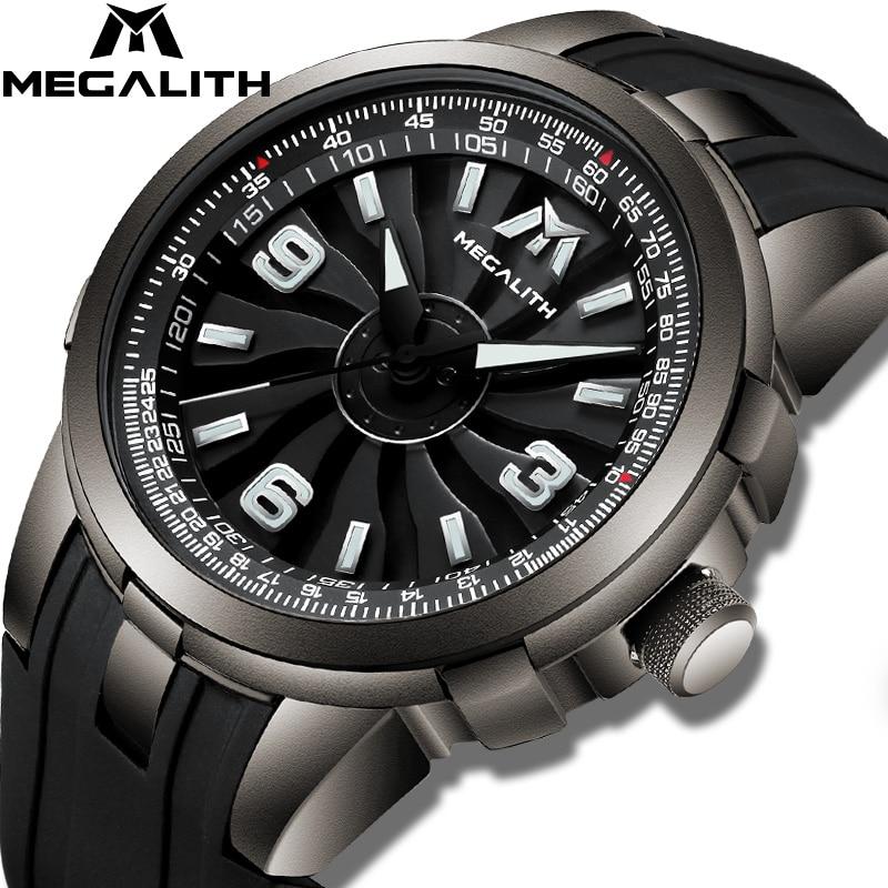 MEGALITH Fashion Sport Watches Men Waterproof Silicone Strap Quartz Watches Men Clock Windmill Rotation Dial Relogio Masculino