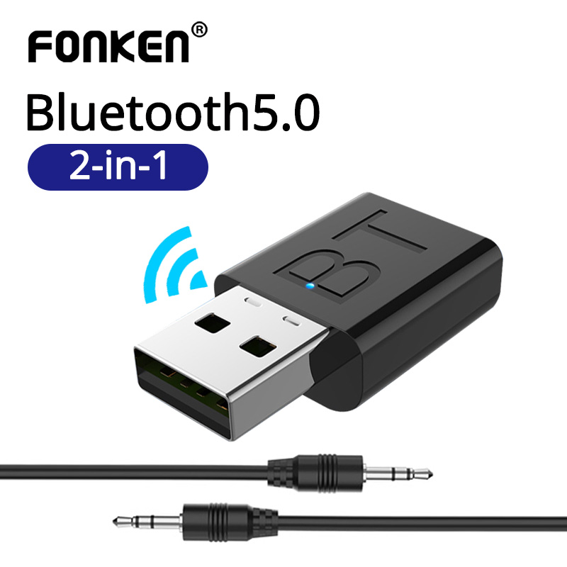 FONKEN Audio Bluetooth Transmitter Receiver Car AUX Cable Kit Bluetooth Wireless Adapter TV Jack Wireless Earphone USB Adapter