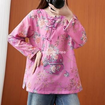 2021 hanfu topy chińskie tradycyjne stroje odzież dla kobiet hanfu strój tang lniane chińskie bluzki morden druk kwiatowy koszula tanie i dobre opinie DecisionTree COTTON Linen CN (pochodzenie) WOMEN Suknem