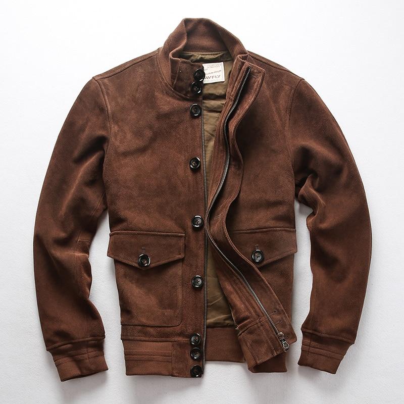 AVFLY 2019 Men Vintage Brown Genuine Cowskin Motorcycle Leather Jacket Fashion Single-breasted Cowhide Jacket Winter Russia Coat