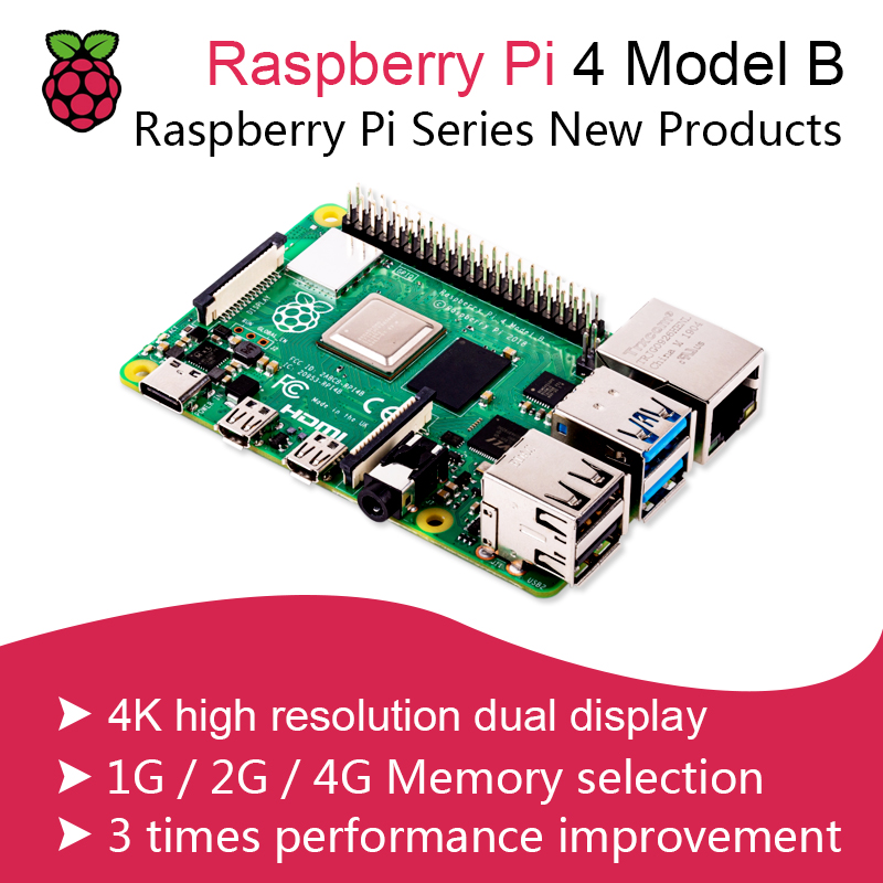 New Official Original Raspberry Pi 4 B 1G/2G/4G Model B Development <font><b>Board</b></font> BCM2711 <font><b>SoC</b></font> DDR4 RAM USB 3.0 Support PoE Than Pi 3 image