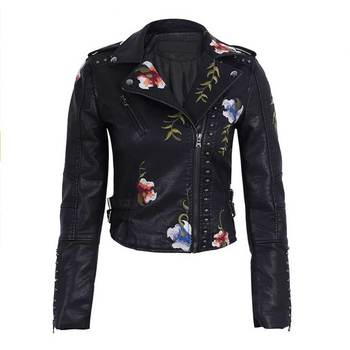 Ailegogo Spring Autumn Flowers Embroidery Pu Leather Jacket Women Turn-down Collar Rivet Zipper Black Biker Coats Tops Clothes 1