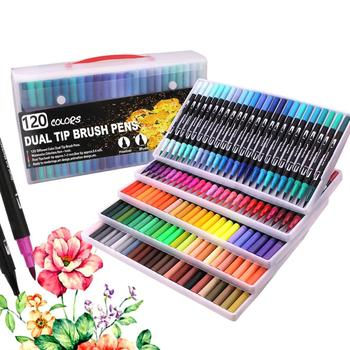 120 Colors Brush Fineliner Pens Colouring Tip Art Markers for Colouring, Sketching, Painting - discount item  59% OFF Pens, Pencils & Writing Supplies
