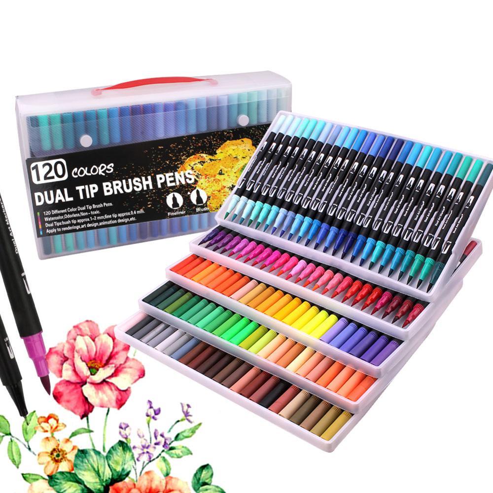 120 cores escova fineliner canetas colorindo canetas escova ponta arte marcadores para colorir, esboçar, pintura
