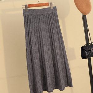 Image 5 - Осенне зимняя утолщенная плиссированная длинная трикотажная юбка трапециевидной формы ярких цветов кашемировые Теплые Элегантные однотонные расклешенные длинные юбки до середины икры зеленого и серого цвета
