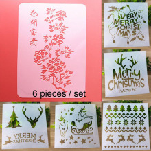 6pc Christmas Stencils Painting Template Scrapbooking Stamps Album Decorative Embossing Paper Cards DIY Craft Tools Reusable 925 sterling silver bridal pearls jewelry sets women wedding jewelry with pearl zircon clips earrings ring pendant necklace set