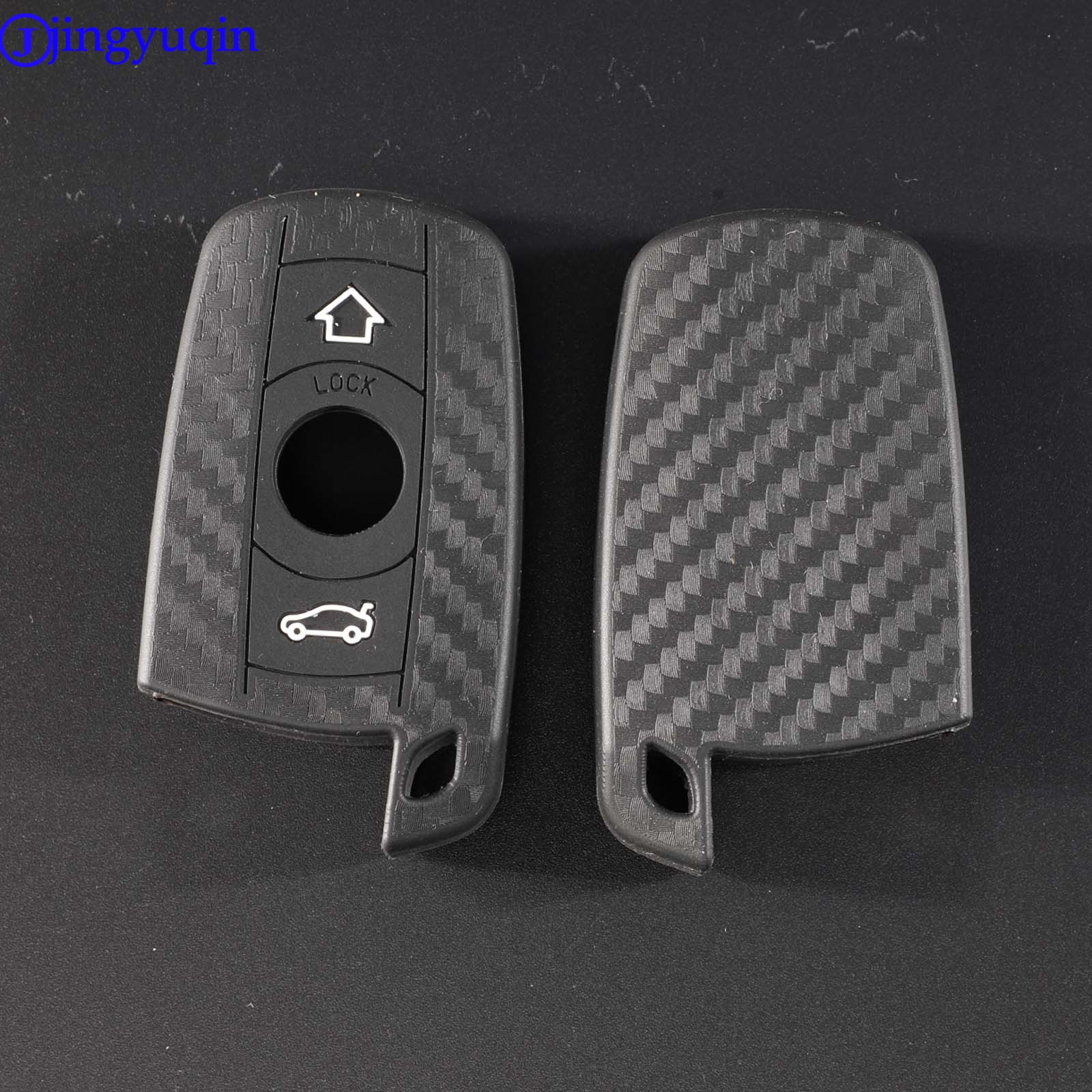 Jingyuqin 3 Buttons Carbon Fiber Patten Silicone Car Key For BMW 1 3 5 6 Series E90 E91 E92 E60 Car Key Holder Case Cover