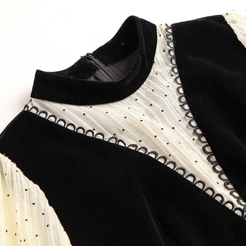 Manches longues robe femmes 2020 printemps nouvelle mode Patchwork mince taille bureau dame une ligne genou longueur robe femme S XL - 5