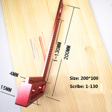 T-200 Woodworking High-precision Scale Ruler Aluminum Hole S