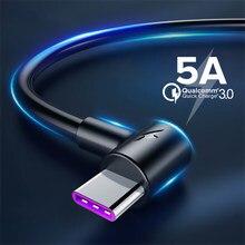5A USB Cabo Tipo C 1m 2m 3m Tipo de Carregamento Rápido-C Kable para Huawei Companheiro P30 P20 20 Pro Telefone Supercharge QC3.0 USBC Cabo