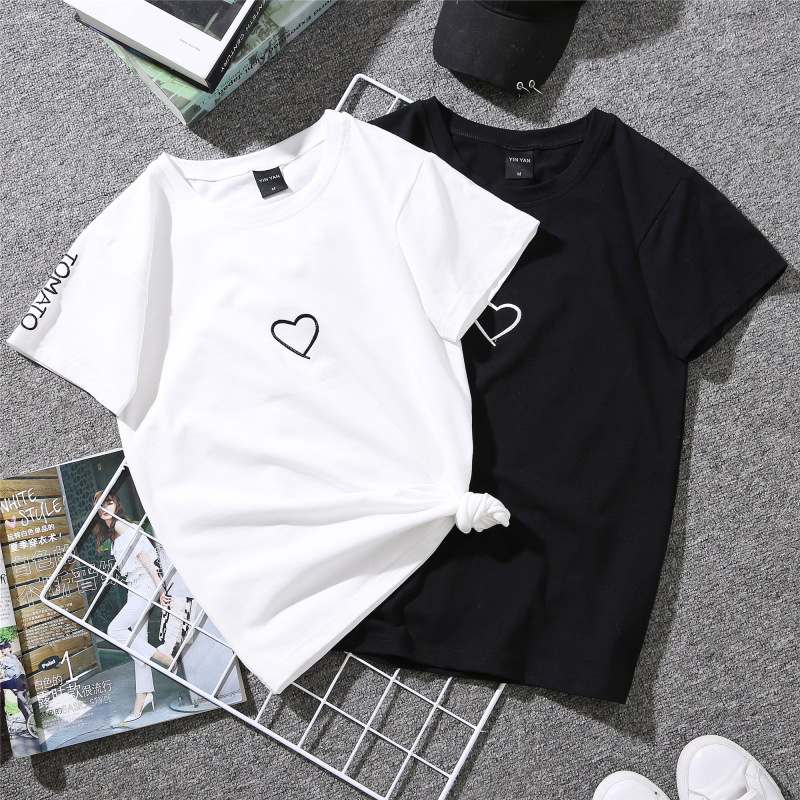 Fashion Summer Lovers T-Shirt Women Casual White Tops T-shirt T Shirt Heart Embroidery Printing Black Female