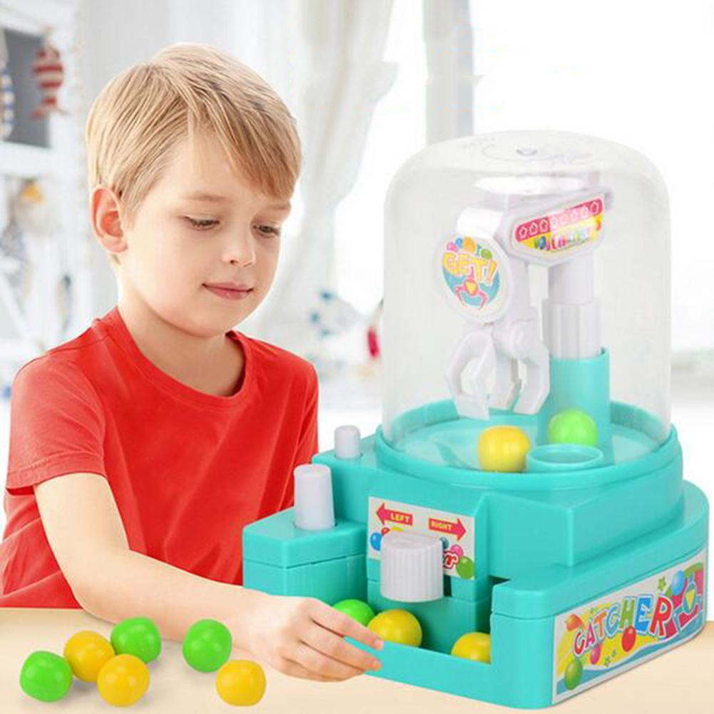 Mini Manual Catching Balls Toy Machine Candy Gripper Interactive Table Game Simulation Catching Ball Toys
