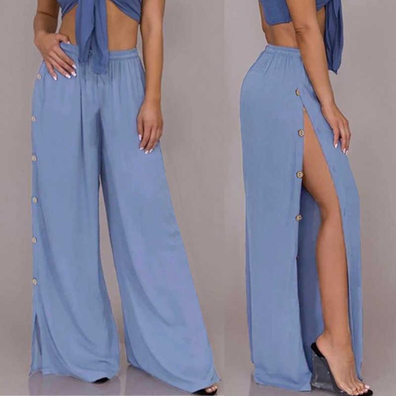 2019 Celmia Vrouwen Zomer Wijde Pijpen Broek Hoge Taille Knoppen Solid Split Broek Plus Size Dames Elegante Bloeier Palazzo Pantalon