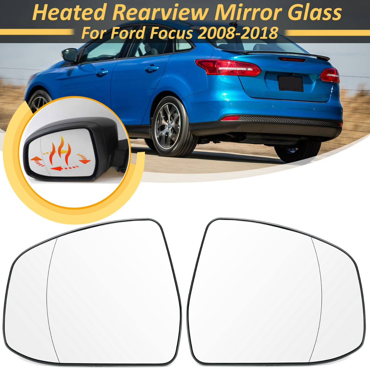 1 Pair Front Door <font><b>Side</b></font> Wing Heated Rearview Warming <font><b>Mirror</b></font> Glass Lens Replacement For <font><b>Ford</b></font> for <font><b>Focus</b></font> 2008 2009 10 11-2018 RHD image