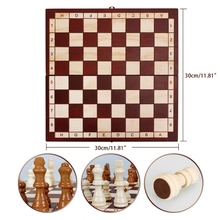 54DF 1Set Interactive Montessori Wooden Chess Stimulation Foldable Chess Early Learning Toy Gift for Toddler's Toy