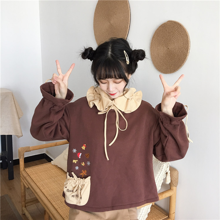 2019 female Autumn and Winter Wild Loose Korean Plus velvet thickening Tied lace pullover Hoodie Tops Kawaii Teen Girls Tops