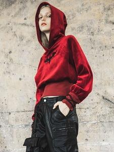 Image 4 - פאנק רווה של הילדה בת דפוס קטיפה מכשפה ארוך שרוול קצר נים נשים סווטשירט Harajuku קפוצ ון חולצות