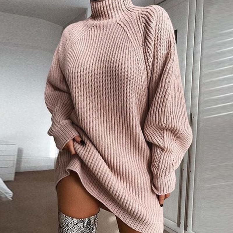 2019 Winter Turtleneck Sweater Dress Women Long Sweater Dress High Neck Sweater Ladies Thick Warm Sweater Women Knitted Dress