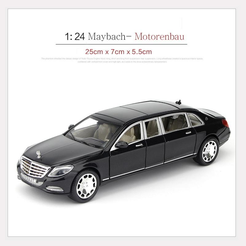 1:24 Maybach Motorenbau S600 литая под давлением модель автомобиля Вытяните назад Коллекция игрушек 6 открытых автомобилей с батареей
