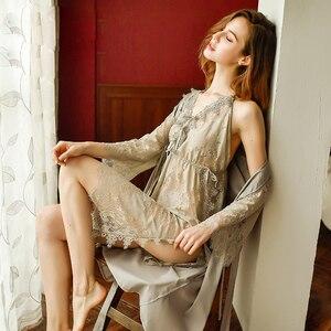 Image 2 - Yhotmeng סקסי פיתוי פיג מה גבירותיי תחרה דק סעיף פיצול ללא משענת העמודים רצועת V צוואר רשת שקוף כותונת סט