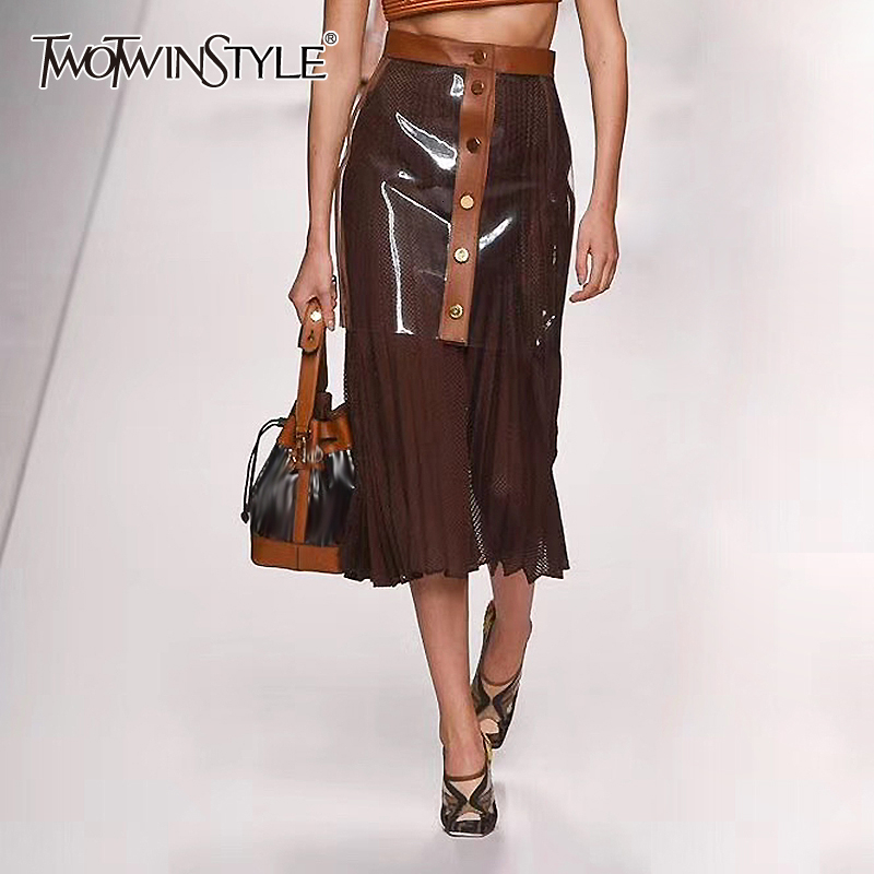 TWOTWINSTYLE Patchwork Pleated PU Leather Two Piece Sets For Women High Waist Hit Color Hollow Out Suits Female Fashion Clothing