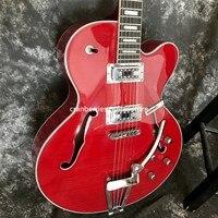 Grote-guitarra eléctrica G5, parte superior de arce flameado, Jazz rojo, cuerpo hueco, doble agujero f, envío gratis