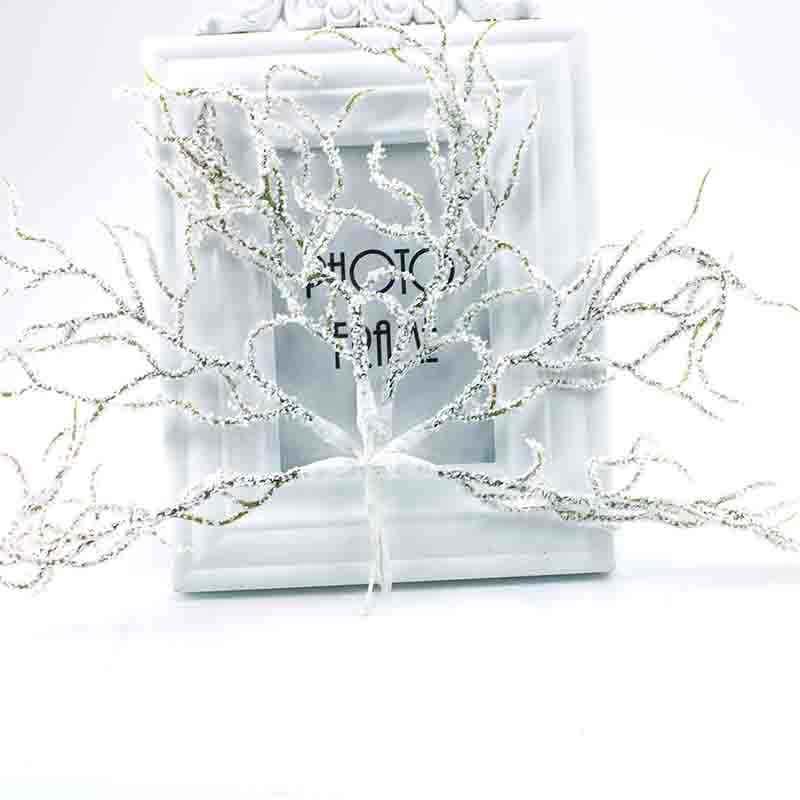 6 pezzi di Natale artificiali di pino bianco del fiore di cerimonia nuziale decorazione di cerimonia nuziale del mestiere di DIY ghirlanda regalo scrapbook pianta falso