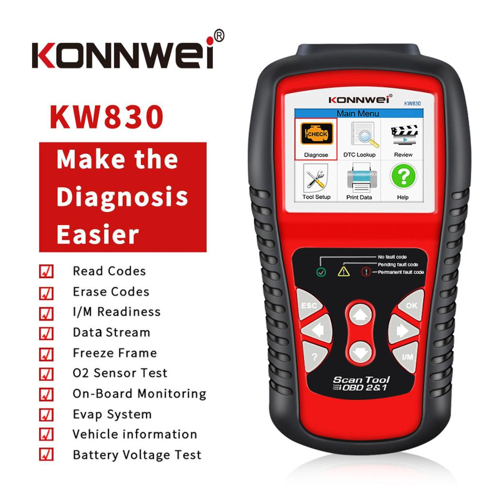 KONNWEI OBD2 OBD Universal Car Diagnostic Tool For Petrol Diesel Hybrid Vehicles Engine Check Free Update Online Scanner KW830