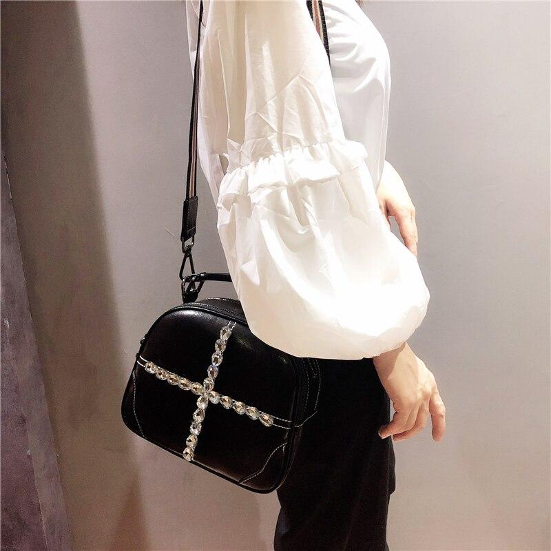 Женские Наплечные мини сумки женские сумки с кристаллами сумка из воловьей кожи сумки с цепочкой круглые черные 2019 новые женские маленькие сумки через плечо - 4