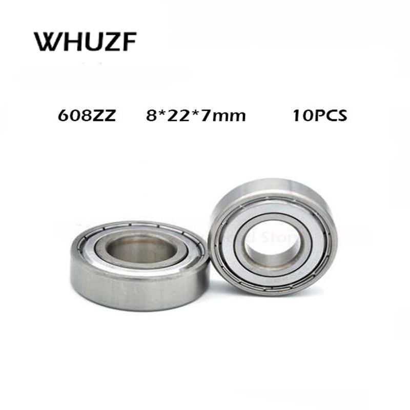 10pcs Double Shielded Miniature High-carbon Steel Single Row 608ZZ ABEC-1 Deep Groove Ball Bearing 8