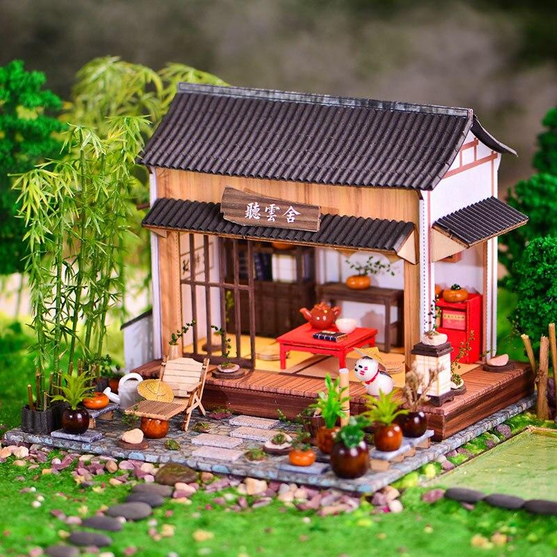 Antigo diy casa de campo de madeira criativa mão montada casa estilo chinês modelo arquitetônico presente aniversário