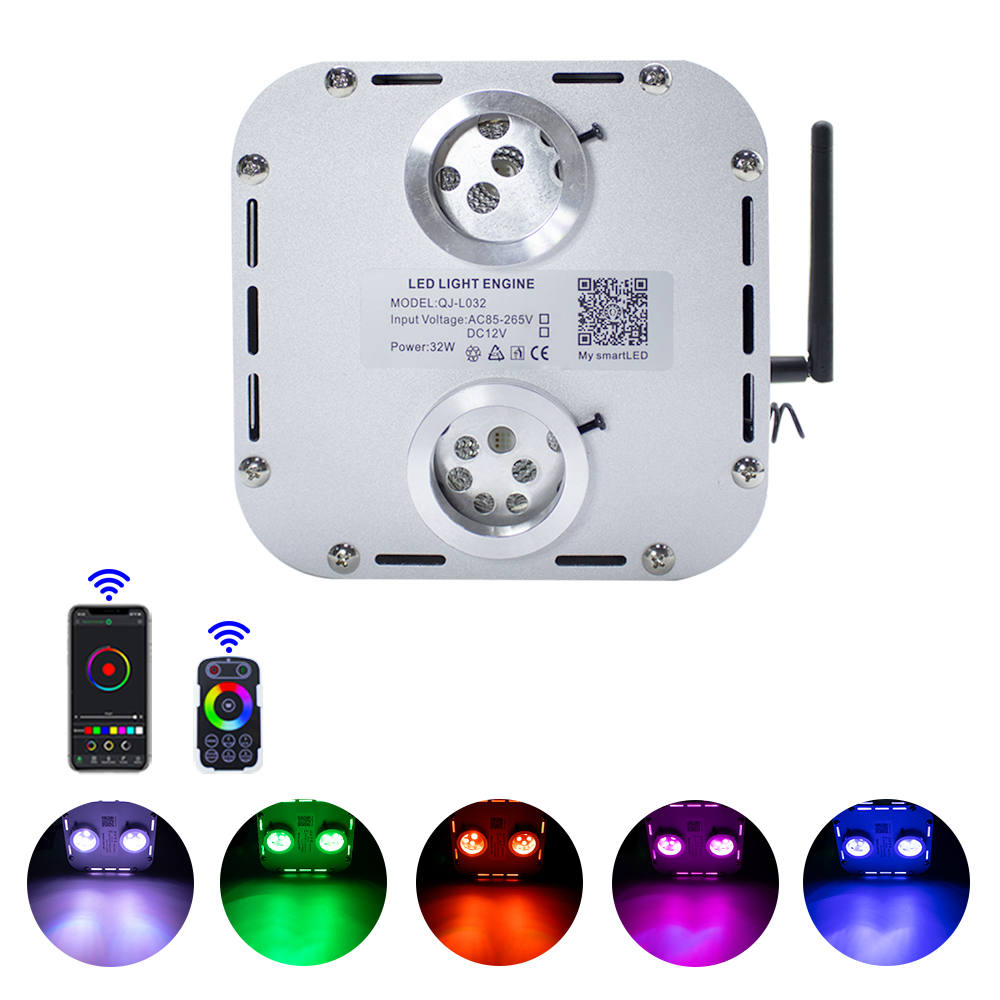 4 Level-speed 32W RGB Double Heard Twinkle  Fiber Optic Engine Starry Sky Effect Ceiling LED Lights Smart APP &Touch RF Control