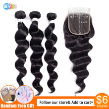 BY Hair Brazilian Loose Wave Bundles With Closure 100% Remy Hair 3 Bundles With 4*4 Lace Closure(China)