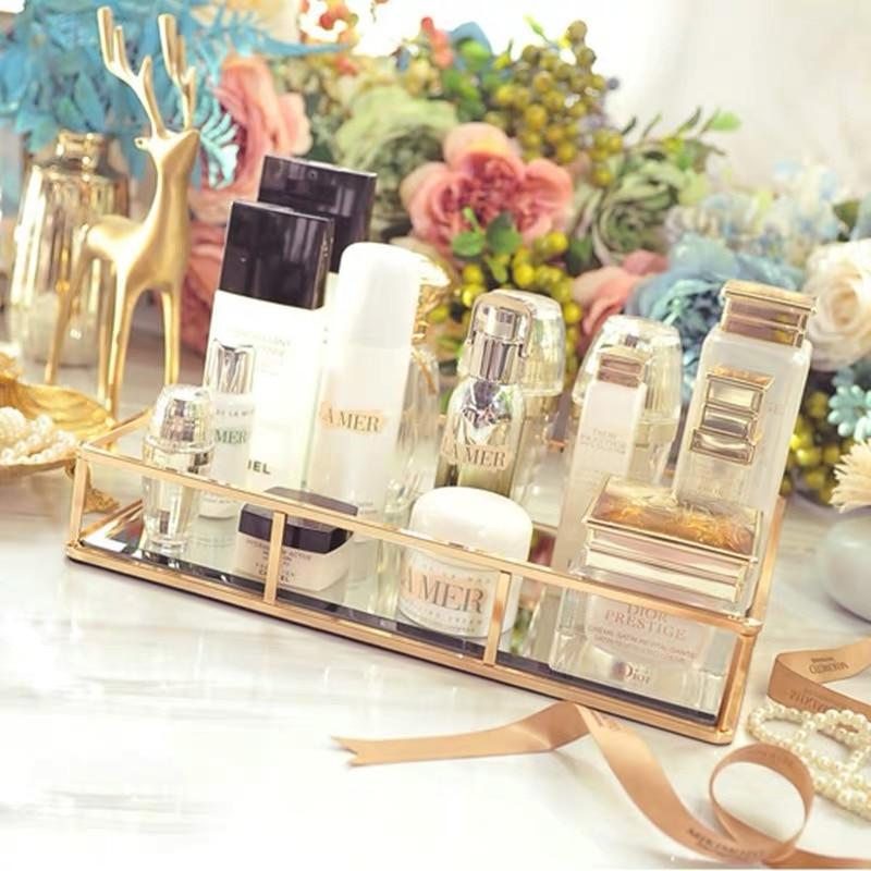 Boîte de rangement Vintage en verre métal   Vintage, plateau en or, bijoux, cosmétiques présentoir, plateau de rangement des cosmétiques, organisateur de cuisine, décor de la maison - 2