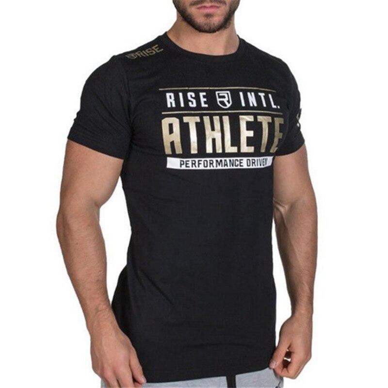 New Bodybuilding Fitness Sport Running Man Cotton Short Sleeve T-shirt Gyms Training Men Muscle Tight Fitness T-Shirt Tees Tops