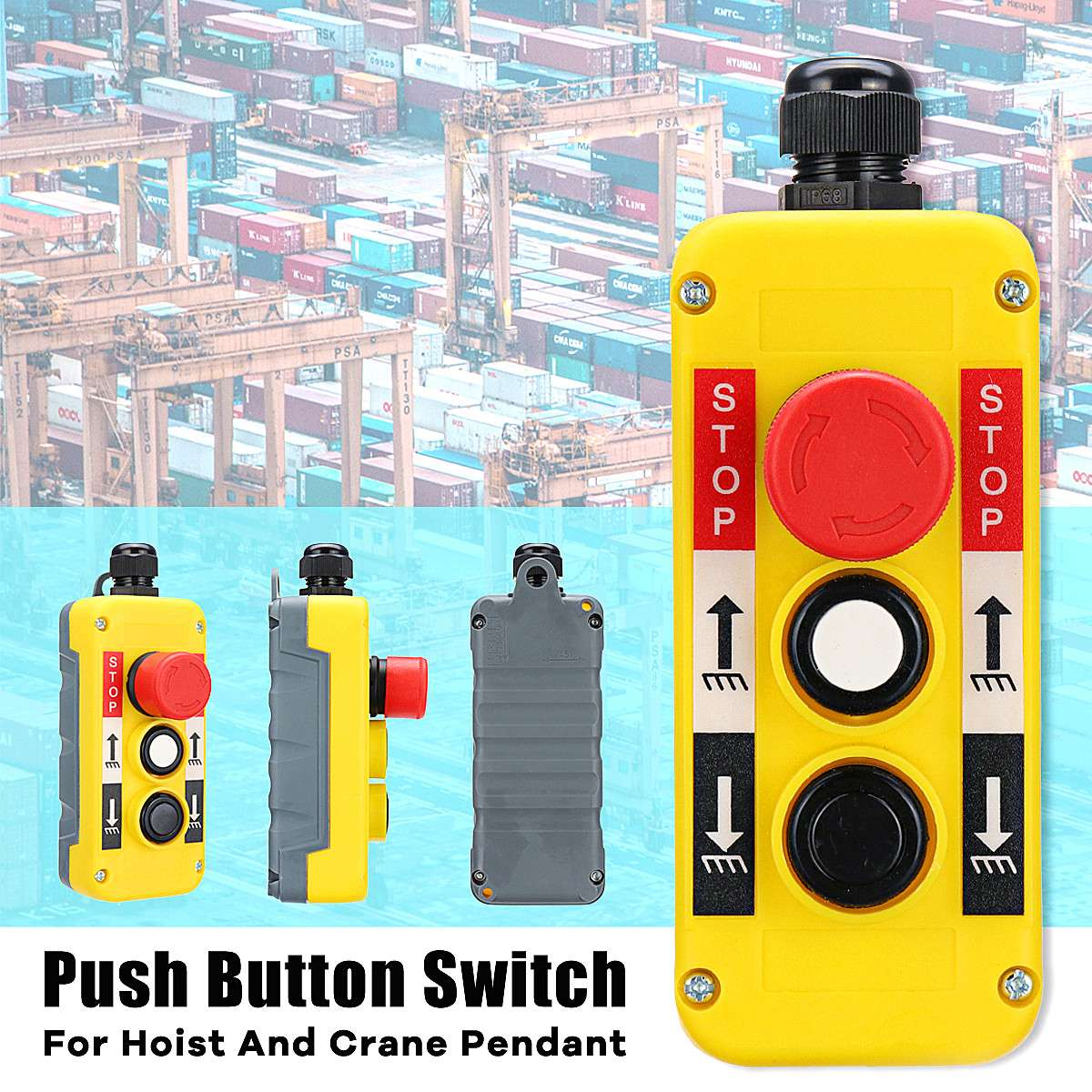 1PC 2 Buttons with Emergency Stop <font><b>Hoist</b></font> And Crane Pendant <font><b>Control</b></font> Station Hand <font><b>Remote</b></font> Rainproof Push Button Switch image
