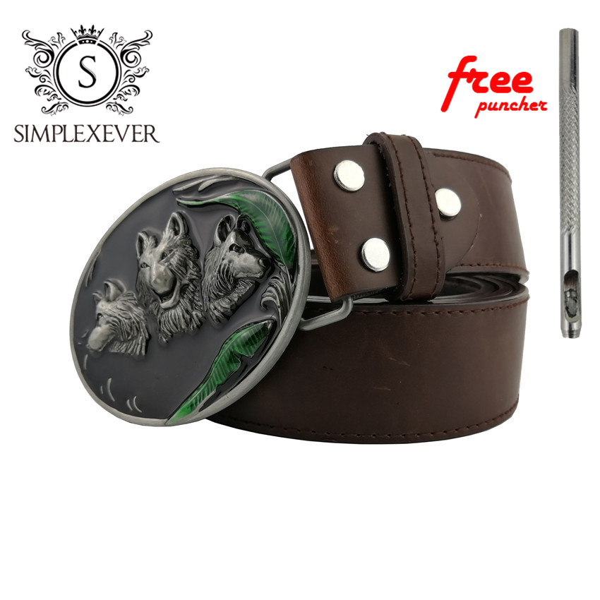Men's Vintage Western Cowboy Wolf Head Belt Buckle for Men's Gift Fashion Zinc Alloy Belt Buckle with Leather Belt