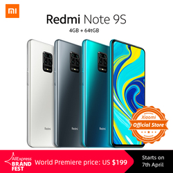 Pre-sale Xiaomi Redmi Note 9S 4GB 64GB Global Version Pre-vendita Xiaomi Redmi Note 9 S 4GB 64GB Globale Versione smartphone Snapdragon 720G Octa core 5020 mAh 48MP Quad Fotocamera Nota 9 S