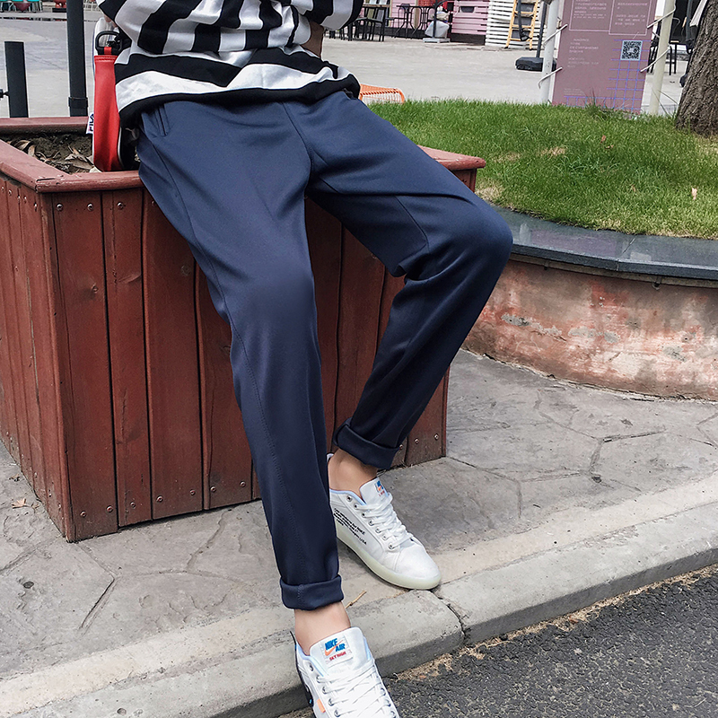 2019 Spring And Autumn New Port Wind Sports Trousers Male Young Students Straight Casual Pants Dark Blue Black / Gray L-4XL