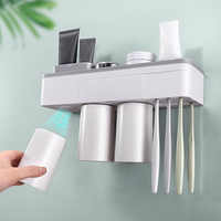Behogar Wall Mounted Toothbrush Holder with 2/3/4 Cups Storage Slots Tray Magnetic Adsorption Bathroom Toothbrush Cup Holder Set