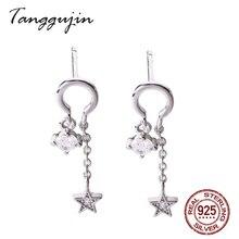 Genuine 925 Sterling Silver Drop Earrings For Women Dangling Star Jewelry White Zircon High Quality 2019