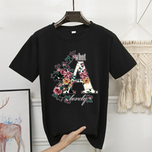 Women Short Sleeve T-Shirt Casual Floral Letter A Print Ladies Loose Top Shirt Tee Female Print Short Sleeve Top Camisetas Mujer