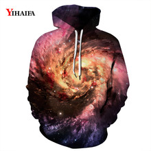 Men Women 3D Hoodies Star Space Galaxy Swirl Graphic Print Sweatshirt Streetwear Pullover Tracksuit Couple Clothes zip front crop graphic pullover