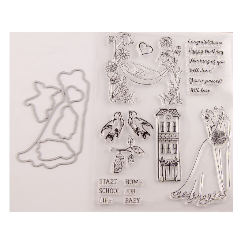Romantic Wedding Metal Cutting Dies&Clear Stamps Rubber Transparent Silicone Stamp Seal For DIY Scrapbooking Paper Card Craft